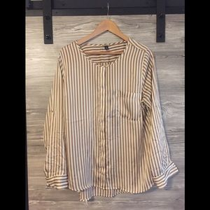 Gold striped long sleeve, roll up quarter sleeve